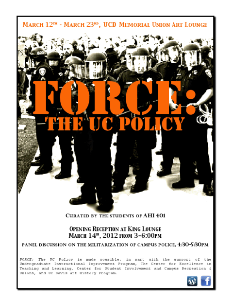 """FORCE: The UC Policy"" art exhibit at UC Davis"